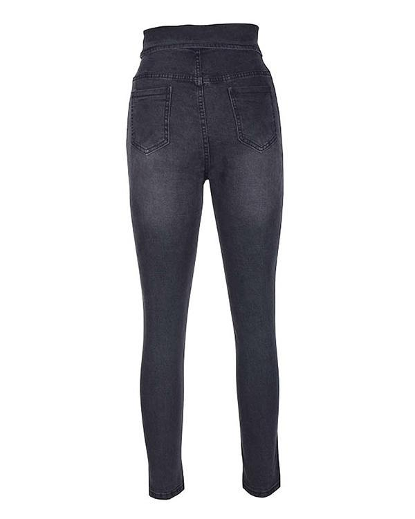 High Waist Button Jeans Pants