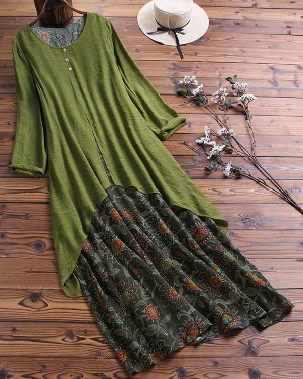 Vintage Printed Long Sleeve Crew Neck Patchwork Maxi Dresses