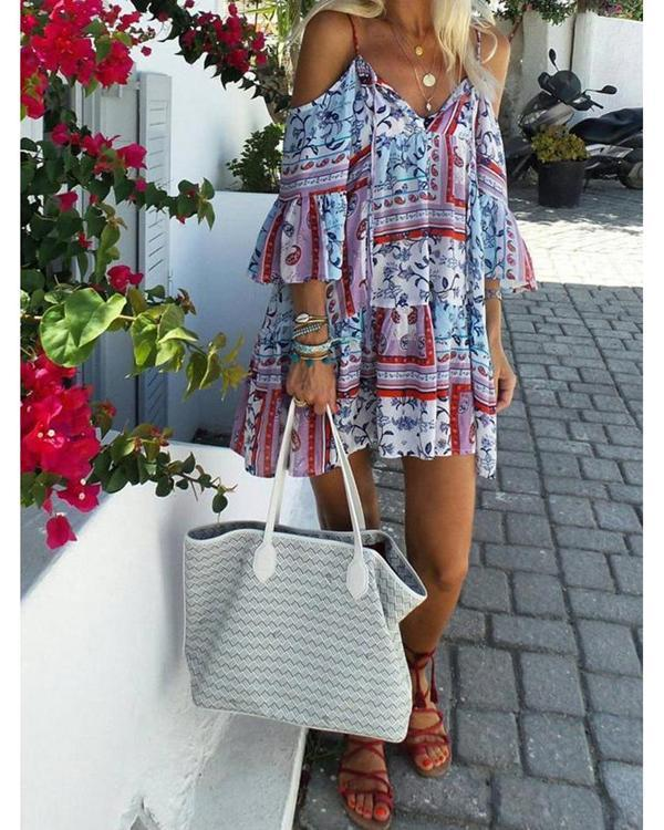 Summer Woman Off-the-shoulder Vintage Printed Lace Bow Dress