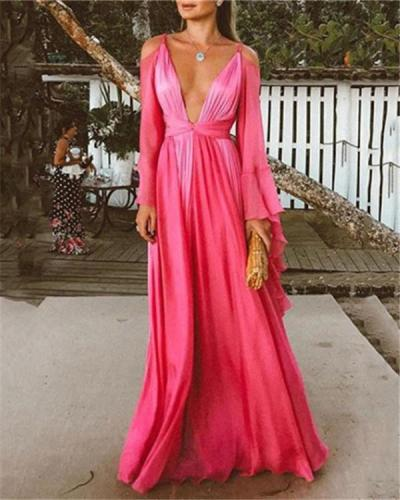 Elegant  Sexy V Neck Fashion Evening Maxi Dresses