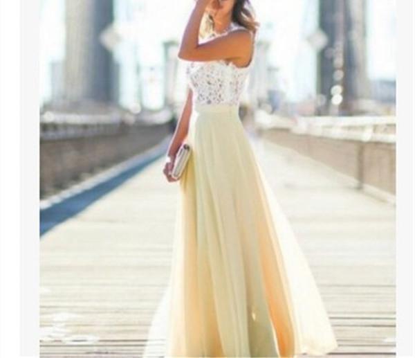 Women's Elegant Solid Lace Tank Maxi Dress