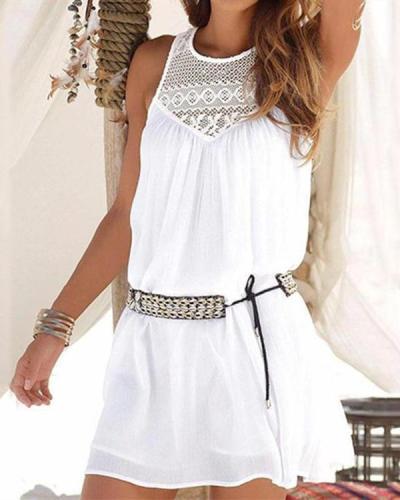 Crew Neck Women Summer Mini Dresses Daily Cutout Solid Dresses
