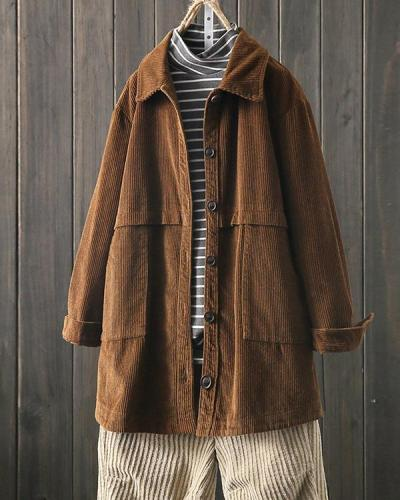 Corduroy Lapel Long Sleeve Loose Jacket for Women