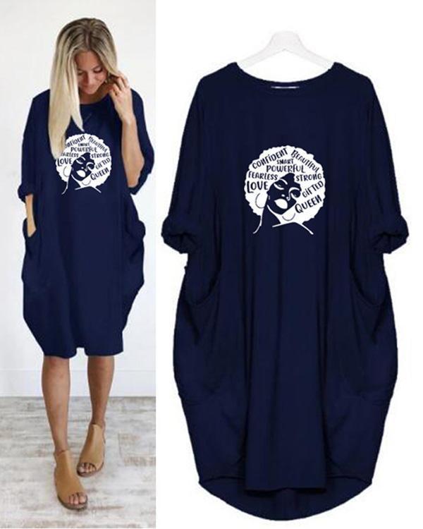 Summer Women Letter Printed Casual Irregular Plus Size Dress