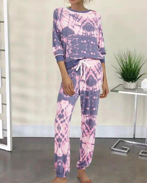 Casual Tye Dye Half Sleeve Adjustable Waistband Loungewear
