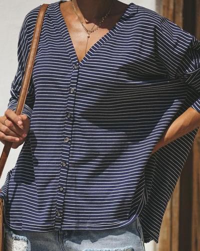 Women Stripe Print Long Sleeve Blouse