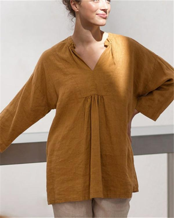 Vintage Linen Solid Long Sleeve Chic Blouse Shirt Dress