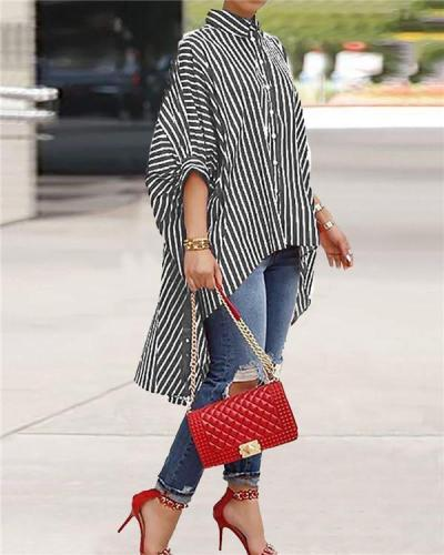 Casual Striped Asymmetrical shirt