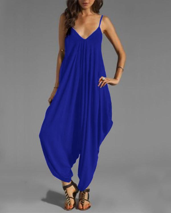 Colorful Casual Sleeveless Solid Jumpsuit