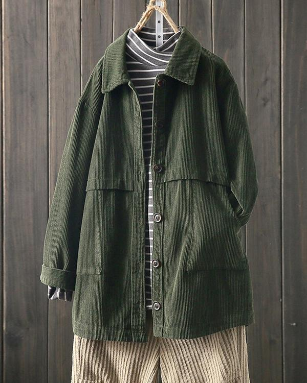 Corduroy Lapel Long Sleeve Loose Jacket for Women