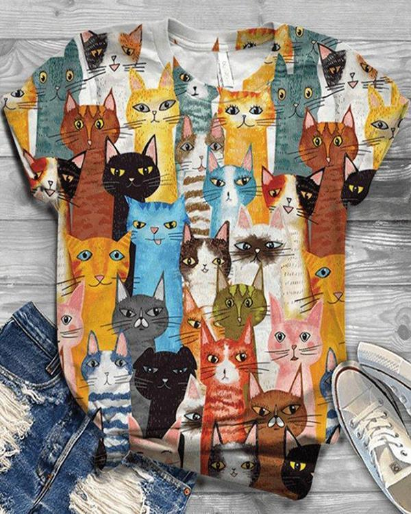 Multicolor Cat Printed Short Sleeve Shirts & Tops