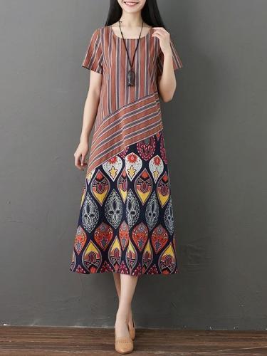 Plus Size Women's Vintage Style Printing Cotton Dresses