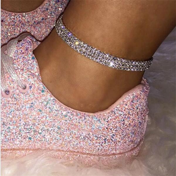 Women Crystal Three Row Ankle Bracelet