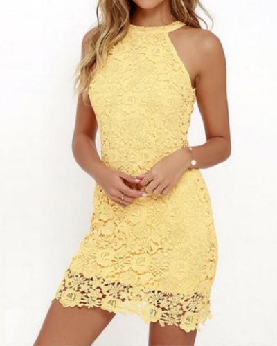Halter Lace Details Mini Dresses with Zip Design