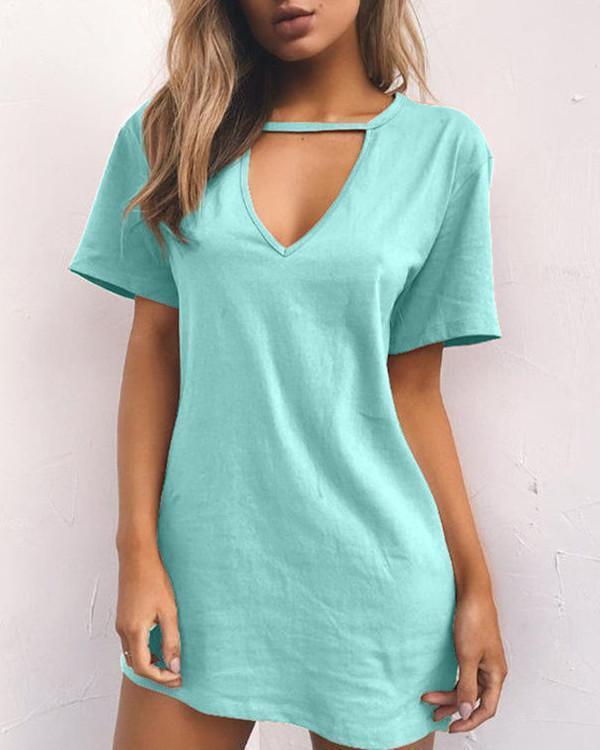 Women V Neck Solid Color Mini Dresses