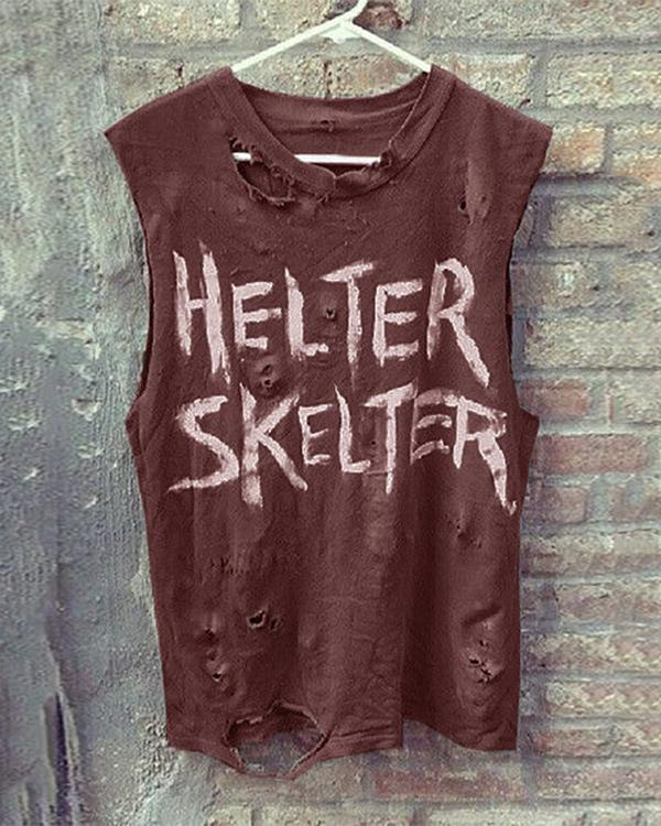 Casual Letter Loose Ripped Vest