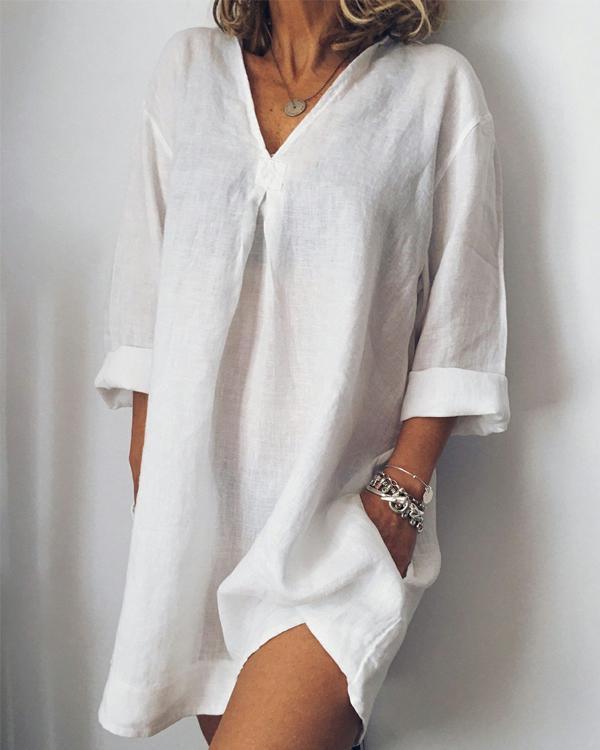 Women Plus Size Mini Dresses Daily Casual Pockets Mini Dresses