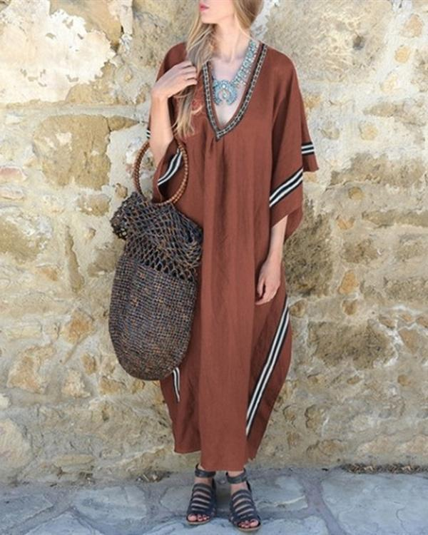 Women Vintage Long Sleeve V Neck Dresses Shift  Plain Dress