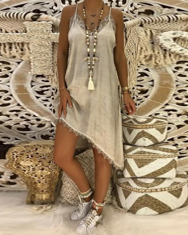 Women Summer Straps Plain Shift Asymmetric Hem Dress