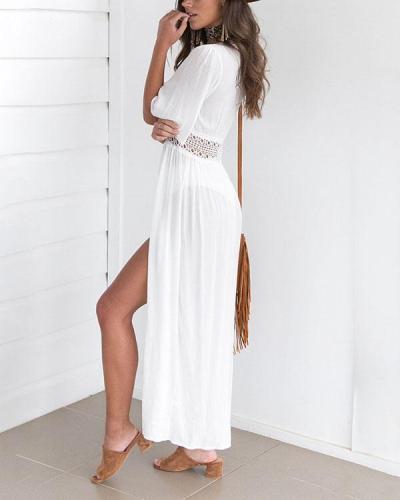 Plus Size Long Lace Cape Cardigan
