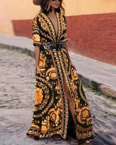 Early Spring Vintage Printed Fashionable Maxi Dress