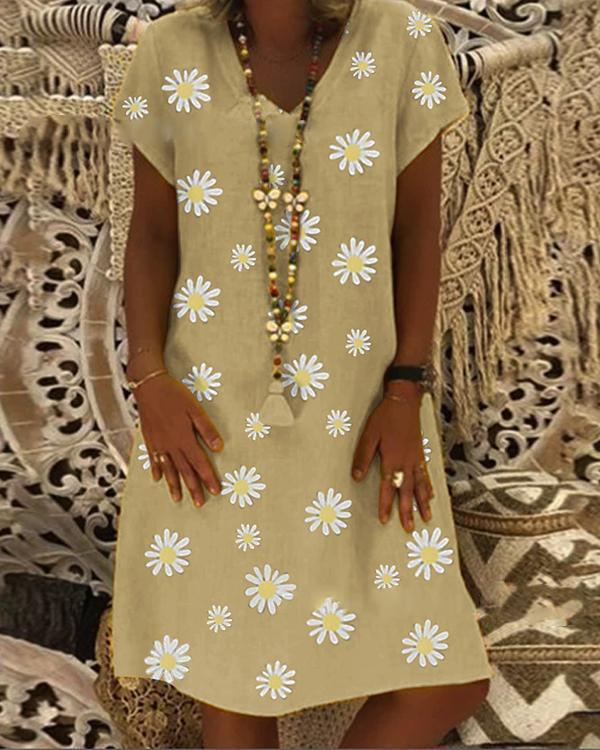 Casual Vintage V-neck Short-Sleeved Daisy Dress