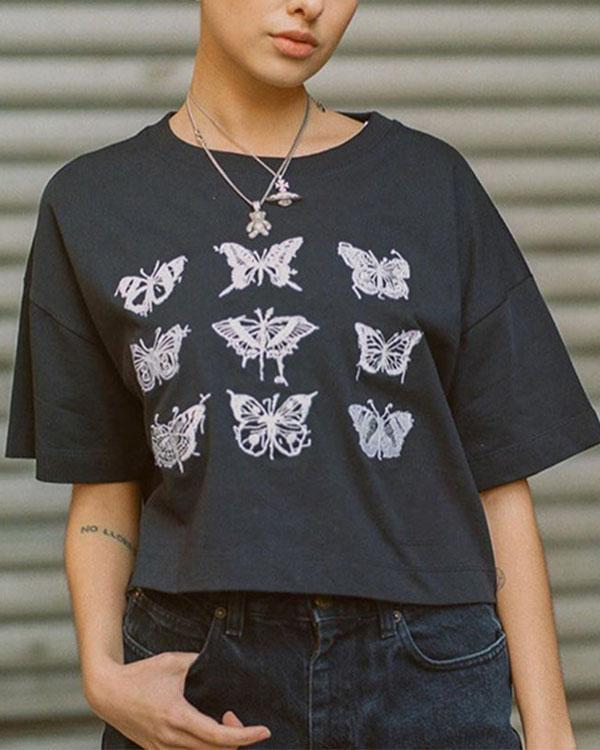 Girls Cool Streetwear Butterfly Printed Tops