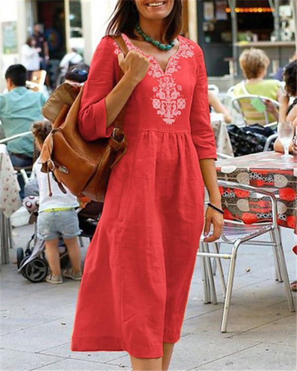 Women's Code V Collar Mid-Sleeve Print Dress