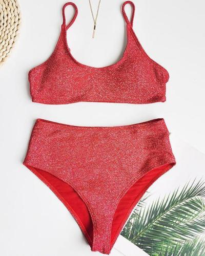 High Waist Bikini Split Swimsuit