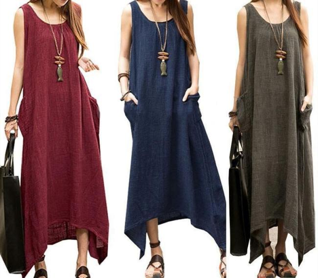 Women Plus Size Sleeveless Asymmetrical Hem Maxi Dress