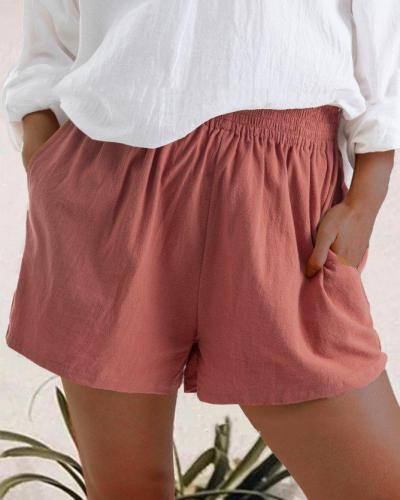 High Waist Linen Blend Shorts