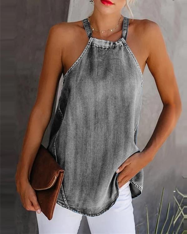 Classy Off-Shoulder Denim Sleeveless Vest