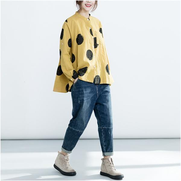 Long Sleeve Cotton Solid Basic Blouse Tops