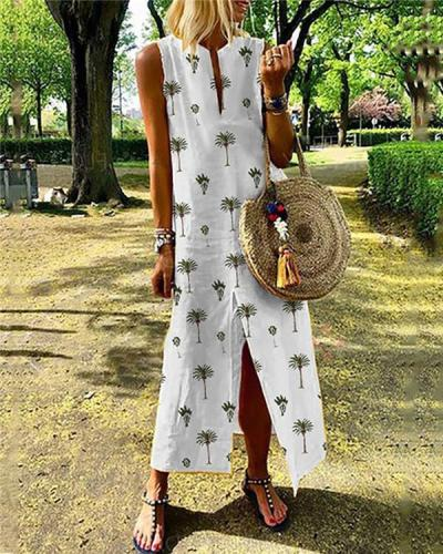 V Neck Long Sleeveless Maxi Dress