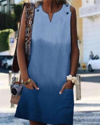 Gradient Sleeveless Round Neck Holiday Daily Fashion Mini Dresses