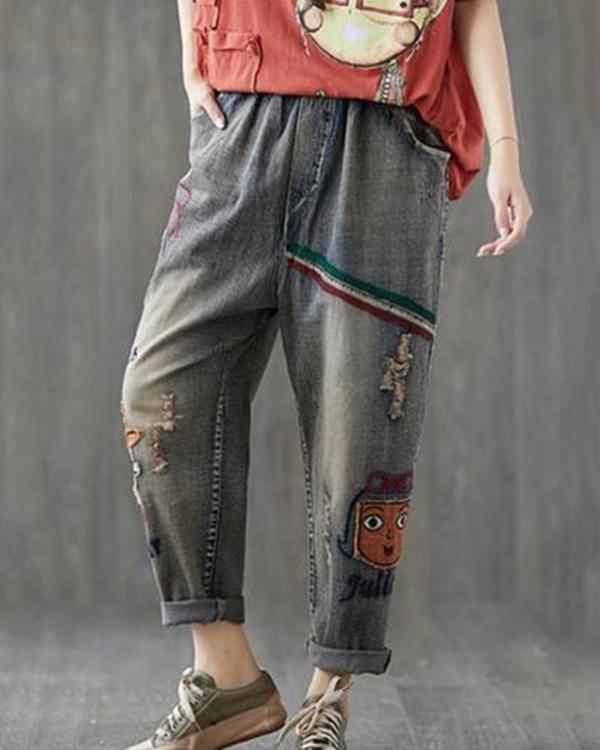 Women Printed Casual Elastic Waist Pockets Jeans