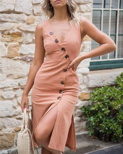 Plus Size Casual Solid Sleeveless V Neck Midi Dress