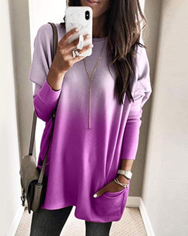 Casual Pure Color Double Pockets Loose Shirt