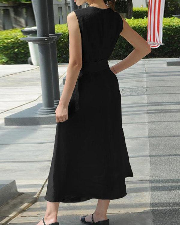 Women Casual Sleeveless V-neck Evening Maxi Dress