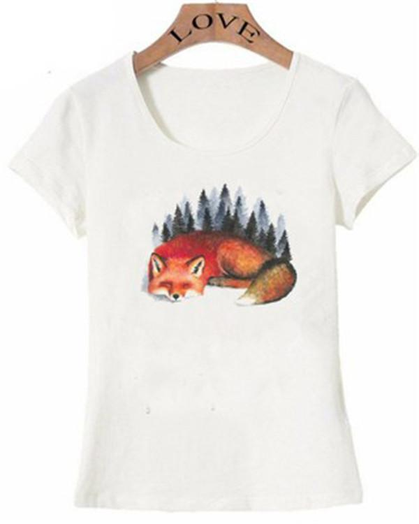Plus Size Printed Fox Casual Summer Women Holiday Blouse