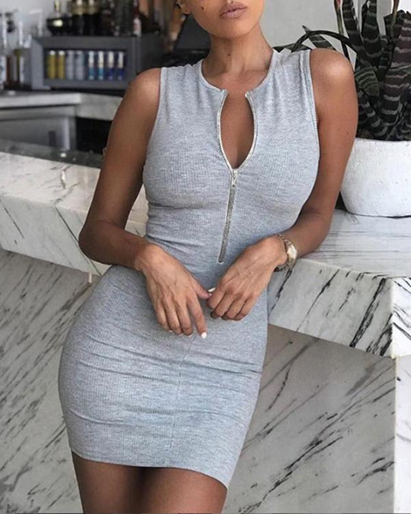 Solid Zipper Design Sleeveless Dress