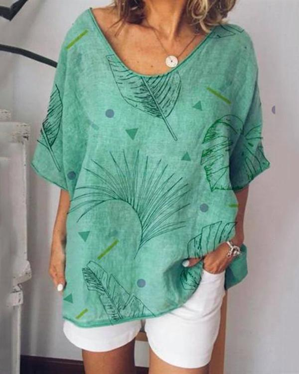 Casual Printed Short Sleeve T-shirts Tops