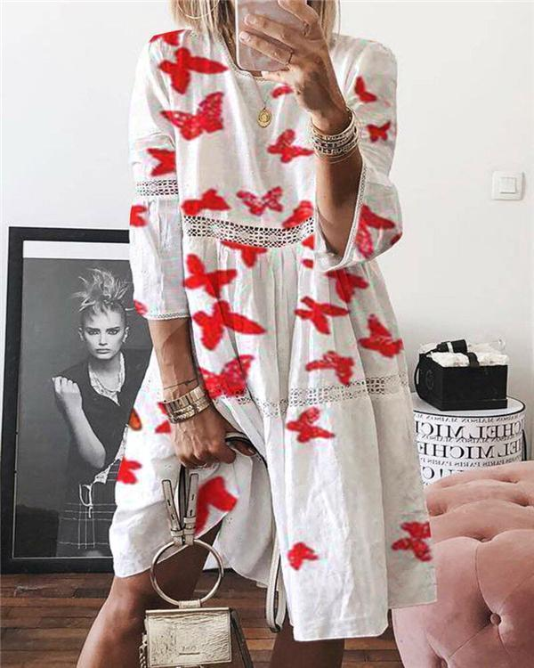 Printed Crew Neck Short Sleeve Casual Shift Dresses