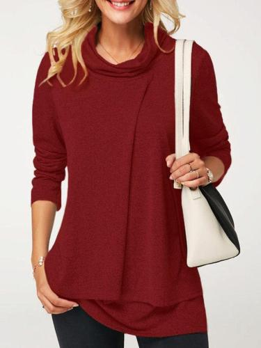 Casual Long Sleeve Cowl Neck Folds T-Shirts
