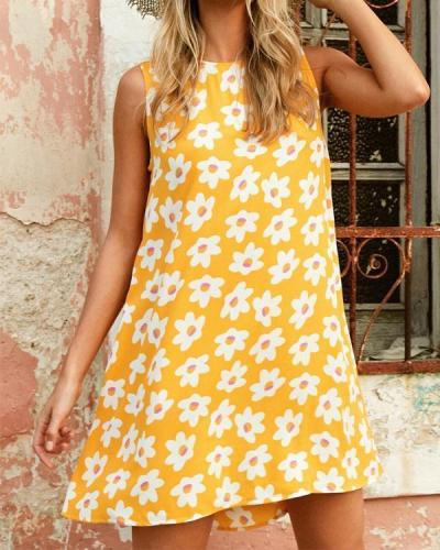 Women Casual Sleeveless Crew Neck Printed Dress