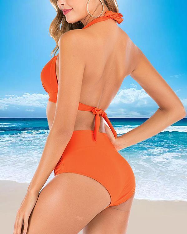 Solid Color High Waist Split Swimsuit