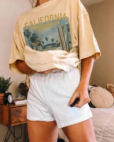 Printed Crew Neck Short Sleeve Basic Casual T-Shirt