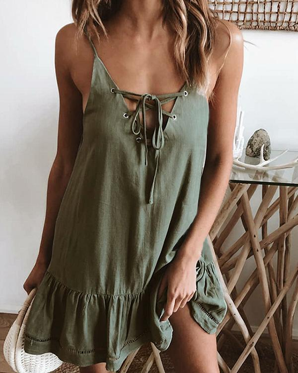 Sexy Suspenders Lace Cornback Halter Dress