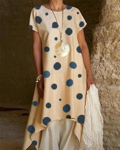 Fashion Crew Neck Polka Dot Irregular Maxi Dress