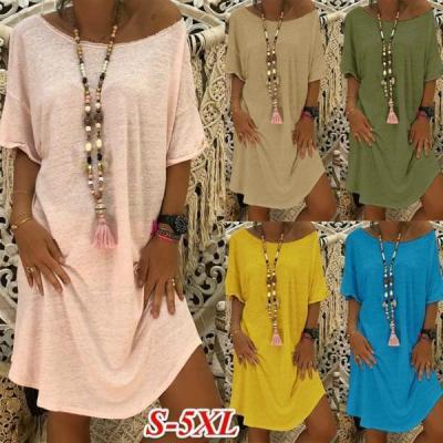 Women Crew Neck Short Sleeve Casual Solid Summer Dress